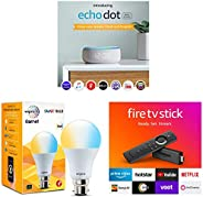 Echo Dot with Clock bundle with Fire TV Stick and Wipro smart white bulb