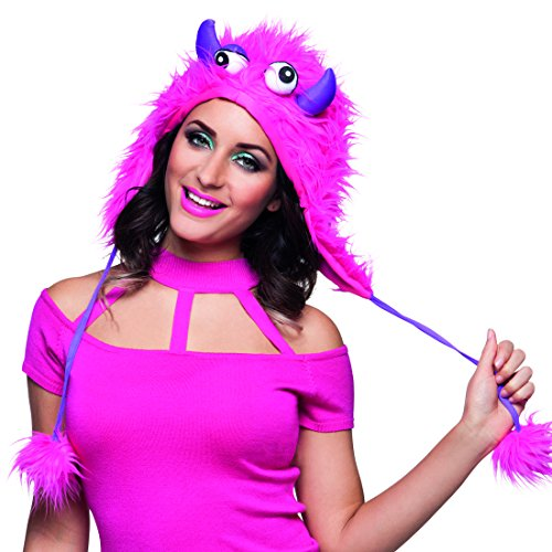 Monster Kostüm Süßes - Amakando Plüschmütze Ungeheuer - pink - Süße Monster Mütze Damenmütze Karneval Wintermütze Bommelmütze Straßenkarneval Kostüm Accessoire Süße Monster Mütze
