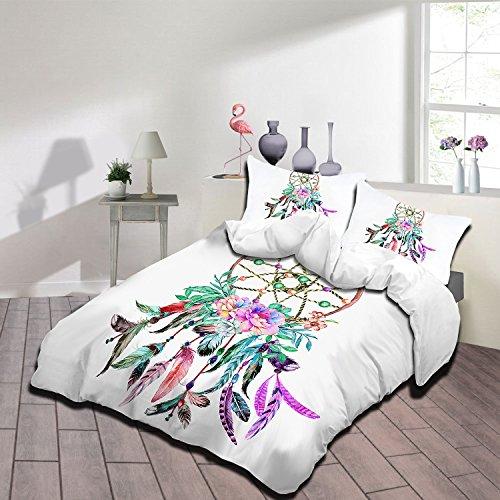 IMMIGOO Juego de Cama Funda de Edredón 230 x 260 cm + 2 Funda de Almohada 50 x 90 cm Tema Atrapasueños Multicolor Ropa de Cama Dreamcatcher Decoración - Blanco