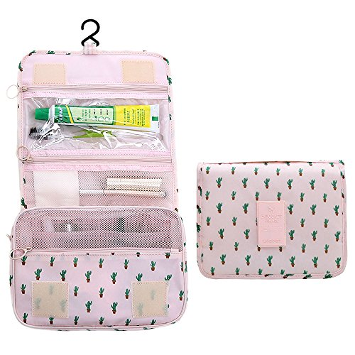 Arxus Toiletry Bag Travel Portable Waterproof Kit Cosmético Maquillaje Bolsa para Mujeres Hombres con Gancho Colgante (Cactus Impresión)