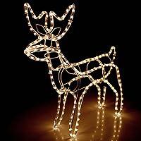 Multistore 2002 Lichtschlauch Rentier 3D / 60x27xH65cm / für Innen und Außen/Warmweisses Licht/Lichterkette Weihnachtsdekoration Beleuchtung