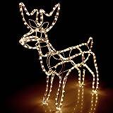 Multistore 2002 Lichtschlauch Rentier 3D/60x27xH65cm/für Innen und Außen/Warmweisses Licht/Lichterkette Weihnachtsdekoration Beleuchtung