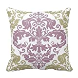 Bikofhd Cotton Pillowcases Throw Pillow Cover - Damask Duo - Sage and Plum