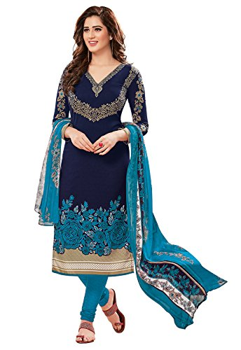 Ishin Women's Synthetic Unstitched Anarkali/ Patiala Salwar Suit Dress Material (Ddrrjgr-Rp-Rmzm9088_Blue_Free Size)