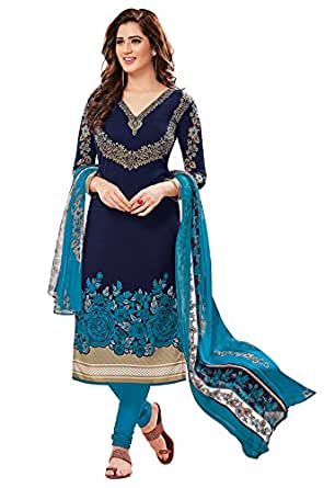 Ishin Women's Synthetic Dress Material (Ddrrjgr-P-Rmzm9088_Blue_One Size)