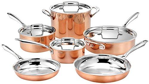 Cuisinart 8 (Cuisinart Kooper-Kochgeschirr-Set, 3-lagig, 1 l mit Deckel, 2,5 l mit Deckel, 4 qr Saute mit Deckel und Hilfsbehälter, 20,3 cm und 25,4 cm Pfannen, 8 l Suppentopf, 20-teiliges Set, Kupfer)
