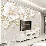 HONGYUANZHANG Benutzerdefinierte 3D Wallpaper Geprägte Schmuck Blume Moderne Einfache Wandbild Wohnzimmer Sofa Tv Hintergrund Wandbild,110cm (H) X 190cm (W)