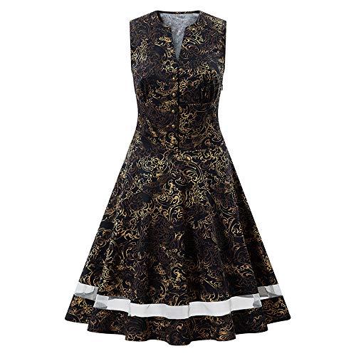 Discount Boutique Kleid Schlank Rundhals Ärmellos Golddruck Nahöstliches afrikanisches Kleid Partykleid
