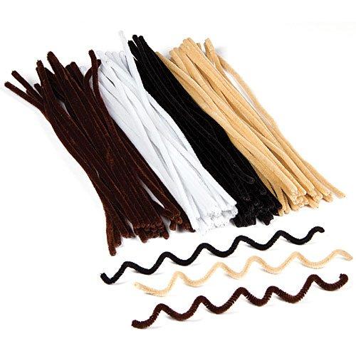 (Pfeifenreiniger in Schwarz, Weiß, Braun und Beige für Kinder zum Basteln und Verzieren (100 Stück))