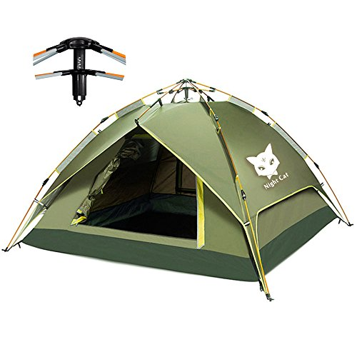 Night Cat Tente DE Camping 2 3 4 Personnes Instant Pop UP Dome DE Vacances Automatique Facile A...