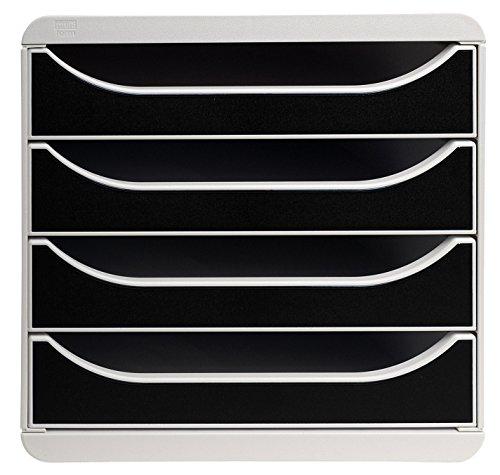 Exacompta Big-Box Classic Grau/Schwarz mit 4 Schubladen/Schubladenbox im Hochformat für mehr Platz auf dem Schreibtisch