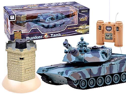 RC Ferngesteuertes Realistische Battle Panzer - Tank vs Bunker - Infrarot Kampf - Sound und Lichteffekte - 27 MHz