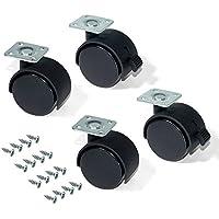 Emuca 2036617 - Lote de 4 ruedas pivotantes negras para mueble (2 con freno y 2 sin freno) diámetro 50 mm con placa de montaje y rodamiento de bolas