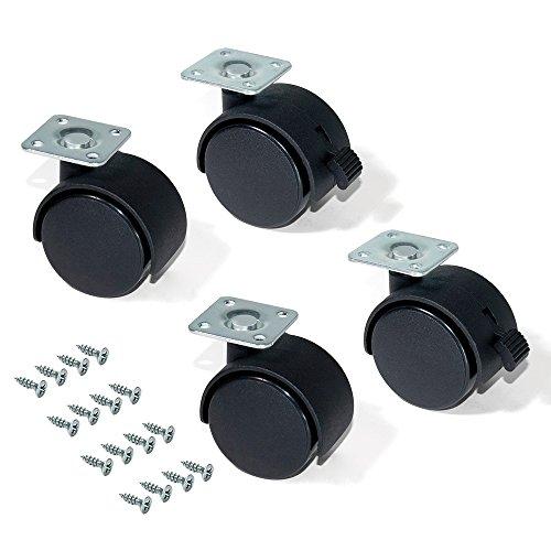 Emuca 2036717 Set 4 STK. Schwarze Lenkrollen für Möbel 2 ohne Bremse Diameter 40mm mit Anschraubplatte und Kugellager