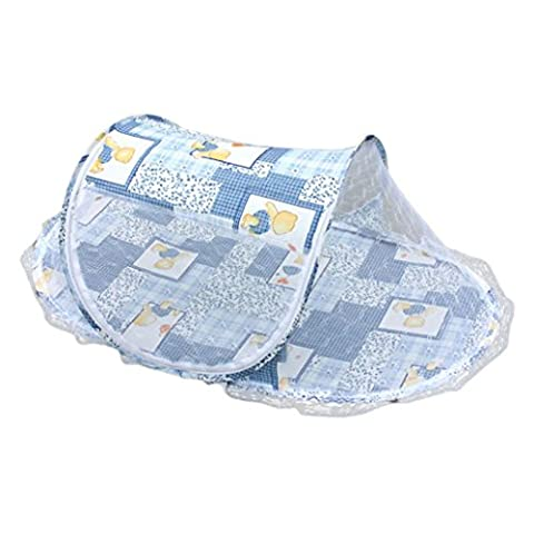 Clode® Sommer Baby Mosquito Mesh Net Krippe Kind tragbar für Reise, Babybett Falten Baby Krippe Moskitonetz (Blau)