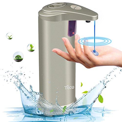YECO Automatischer Seifenspender, Seifenspender mit Infrarot Sensor,Touchless Seifenspender mit wasserdichtem Gehäuse,gebürstetem Edelstahl Ideal für Badezimmer oder Küche.