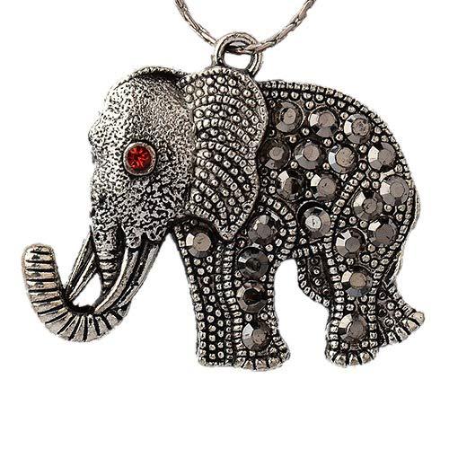 PandaHall 2pcs Antikes Silber Legierung Hämatit Strass Elefant Anhänger Tierische Reize für Halloween DIY Armband Halskette Schmuckherstellung