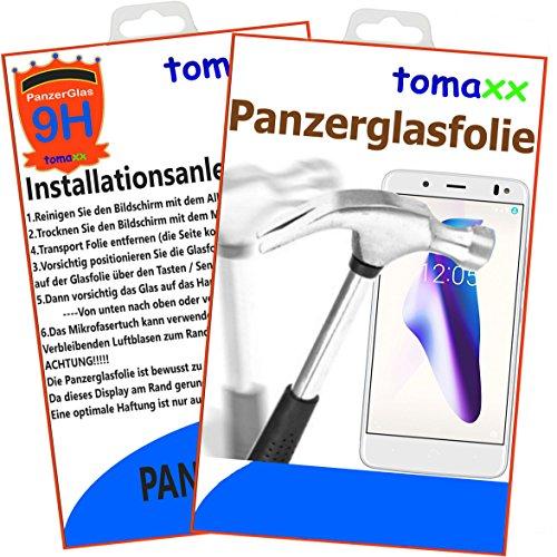 tomaxx Panzerglas BQ Aquaris VS Plus - Panzerfolie Glasfolie Bildschirmschutz brillante Qualität (Achtung: bewusst kleiner als das Bildschirm, da dieses an Rand gewölbt ist)