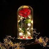 """Bienes frágiles, si están dañados, por favor contáctenos.Juego completo de rosas de seda rojas encantadas. La seda estilo """"La bella y la bestia"""" se levantó con cristales, y una tira de luz de colores en una cúpula de vidrio, sobre una base de..."""