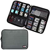 BUBM Travel Gear Organiser / Electronics Accessories Bag / Phone Charger Case (Large, Grey)