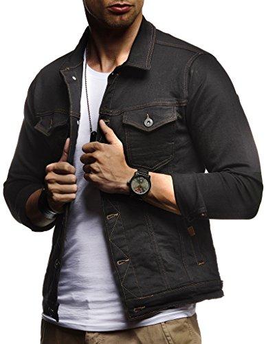 LEIF NELSON Herren Jeansjacke Basic Stretch Jeans Jacke Stehkragen Übergangsjacke Hoodie Sweatjacke Freizeitjacke Kapuzenpullover Pullover T-Shirt Slim Fit LN9500; Größe M, Schwarz