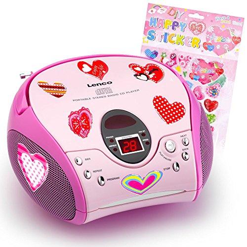 etc-shop Kinder Mädchen Stereoanlage CD-Player MP3 Musikanlage Radio im Set inklusive Herzen Sticker