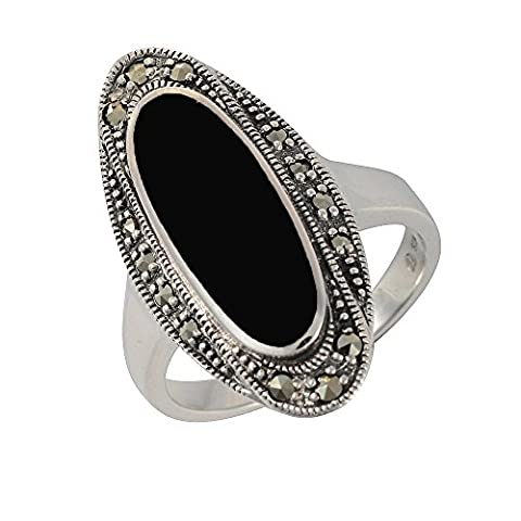 Esse Marcasite Sterling Silver Black Onyx and Marcasite Art Deco Dress Ring - Size L