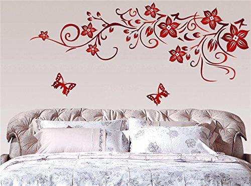 Ufengke fiore rosso della vite e farfalle adesivi murali camera da letto soggiorno adesivi da - Adesivi murali camera da letto ...