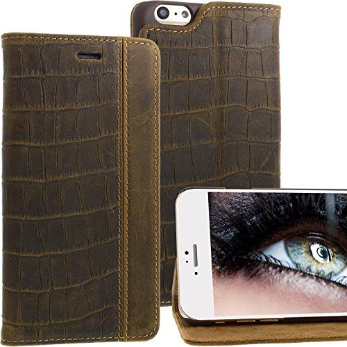 iPhone 6s iphone 6 Plus Lederhülle von Blumax® für Apple iphone 6/6s plus aus echtem Leder Croco Braun - magnetisch (Tasche Doppelte Geldbörse)