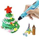 leegoal Lapiz 3D Impresora con Pantalla LED,Pluma Niños Impresion Filamentos 1.75mm (3 Colores al Azar),Pluma Inteligente Kid DIY Pen Set para Drawing Printing,Regalo Navidad para Niños/Adultos