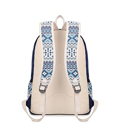 Minetom Stile Etnico Tela Borsa A Zainetto Donna Spalla Zaini Femminili Scuola Superiore Zainetti Bag Ragazze Zaino Blu