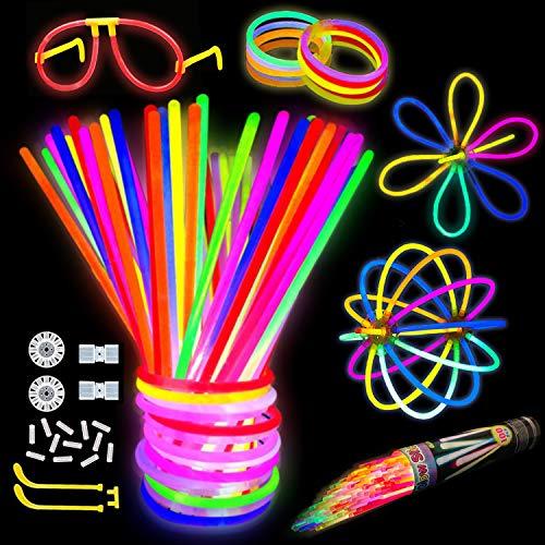 Kimimara Bracelets Fluorescents Lumineux Glow, 100 8'' Bâtons Lumineux Fluorescents avec Connecteurs pour Faire des Colliers et des Bracelets
