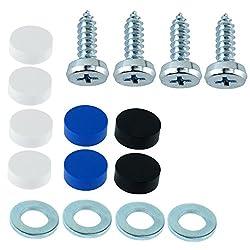 A0023 Kennzeichen Schrauben Kennzeichenbefestigung 4er Set 4,8 x 16 mit Abdeckkappen Befestigung für KFZ Nummernschild