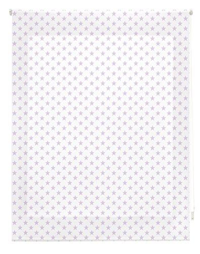 Blindecor Stars Estor Enrollable, Tela, Blanco con Estrellas Lila, 100 x 250 cm