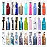 Oleein Botella De Agua 500ML de Doble Pared con Aislamiento de Botella de Agua de Acero Inoxidable Deportiva Botella Acero Inoxidable Térmica