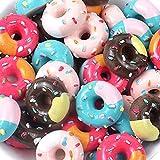 30 ciondoli assortiti a forma di ciambella, biscotti, macaron, dessert, gelato, resina, fette piatte per accessori artigianali, scrapbooking, custodia per telefono, decorazione gioielli Donut1