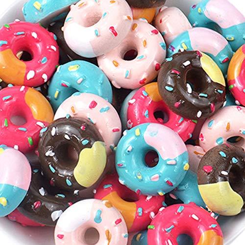 30 Stück süße Charms Perlen Kekse Donut Makaron Dessert Eis Harz Charms Scheiben Flatback Knöpfe für Handwerk Zubehör Scrapbooking Handy Tasche Dekoration Schmuckherstellung Donut1 Candy-bar-handys
