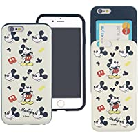 iPhone 8 PLUS / iPhone 7 PLUS Case DISNEY Cute Slim Slider Cover : Card Slot Shock Absorption Dual Layer Holder Bumper for [ iPhone8 Plus / iPhone7 Plus ] Case - Vintage Mickey Mouse