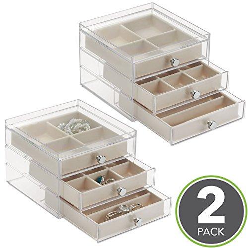 mDesign Schmuckkasten mit Schubladen - ideale Aufbewahrung von Ohrringen, Ringen, Broschen etc. – Schmuckaufbewahrung mit Aufbewahrungsbox - Farbe: durchsichtig / elfenbeinfarben - 2er-Set