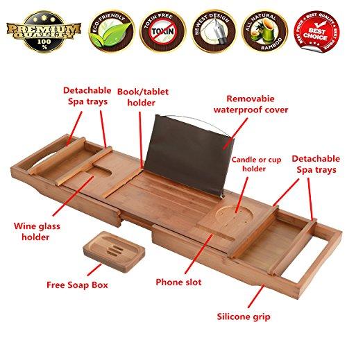mallboo Umweltfreundlich Luxus Bambus Badewanne Tray Caddy/Organizer mit der Erweiterung Seiten und verstellbare Lesung Halterung braun