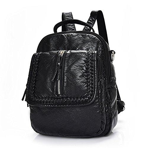 Mefly Marea coreana zaino borsa da viaggio di piacere Litchi Pattern College Wind nero stile 2 Black style 3