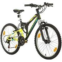 Bikesport PARALLAX Bicicleta De montaña Doble suspensión 24 ruedas, Shimano 18 velocidades (Black Neon Green)