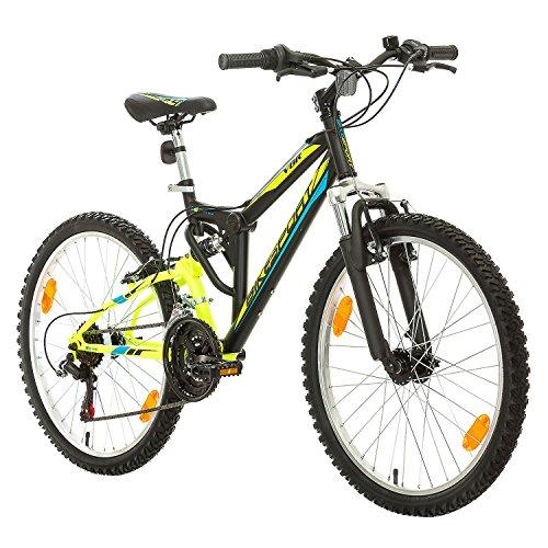 Fahrrad MTB Mountainbike Fully Full Suspension 24 Zoll Bikesport PARALLAX Shimano 18 Gang … (Schwarz Neon Grün)
