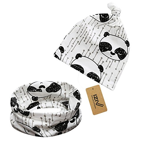 iZiv Bebé Niño Niña Gorras Bebé Niños Bufanda del Algodón Pañuelos con Algódon Suave Sombrero de Punto Unisex 0-2 años (Panda)