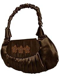 Damen Handtasche,Satin Abendtasche Dkl.Braun