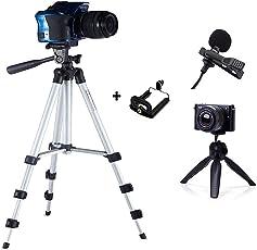 Eloies 40.2 inch Portable Adjustable Tripod | Eloies 7 Inch Tripod | Eloies Lapel Microphone | Eloies Mobile Clamp/Clip, Combo Deal