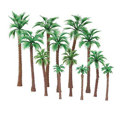 Gazechimp 12 Stück 1:65 - 1: 150 Palm Baum Dekor Bäume 6-11cm für Modellbau Landschaftsbau