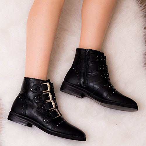 SPYLOVEBUY EMELIA Femmes Boucles Plates Bottines Chaussures Noir -