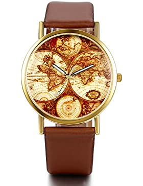 JewelryWe Damen Armbanduhr, Retro Casual Analog Quarz Leder Armband Uhr mit Gold Weltkarte Zifferblatt, Kaffee...
