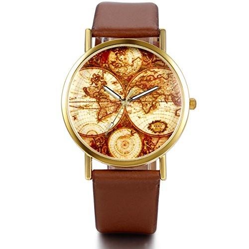JewelryWe Damen Armbanduhr, Retro Casual Analog Quarz Leder Armband Uhr mit Gold Weltkarte Zifferblatt, Kaffee Uhrenarmband